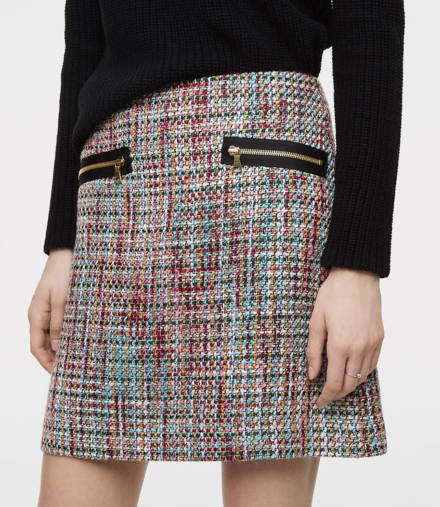 Color Swatch 5022Zip Pocket Tweed Skirt