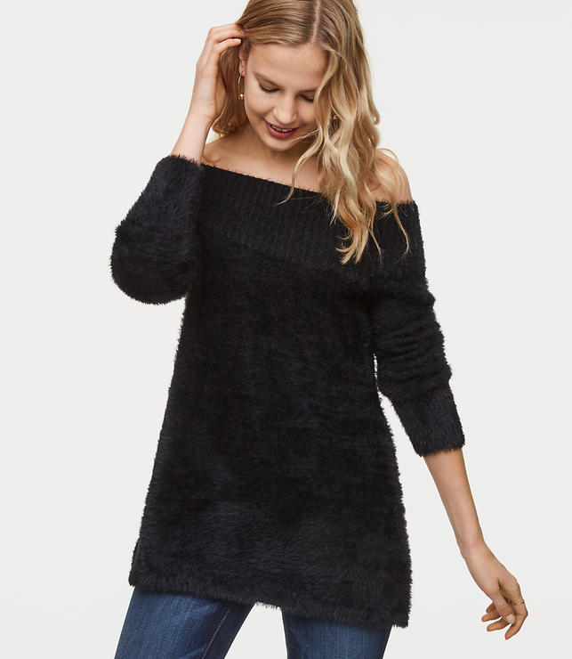 Fuzzy Off The Shoulder Tunic Sweater