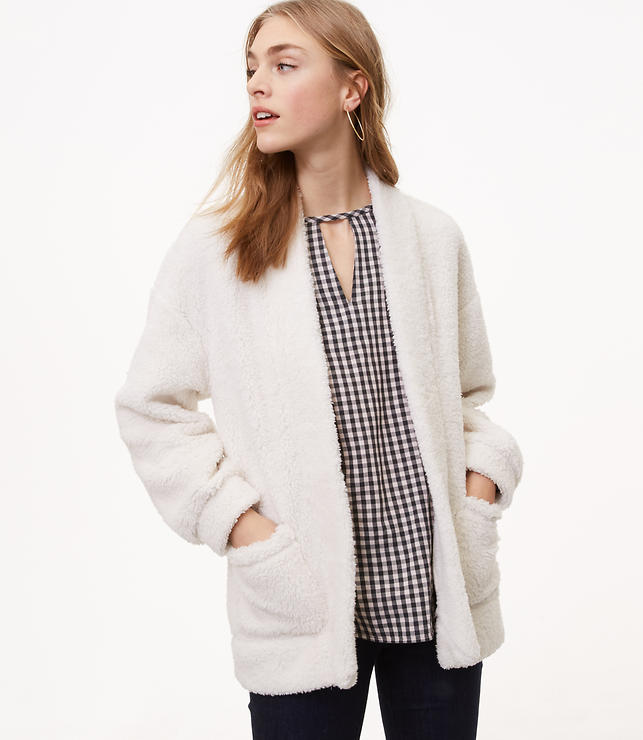 Fleece Open Cardigan | LOFT