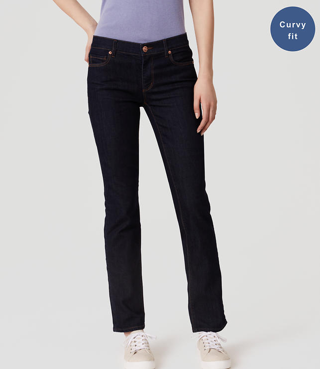 Petite Curvy Straight Leg Jeans in Dark Rinse Wash
