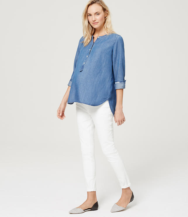 Maternity Demi Panel Skinny Jeans in White | LOFT