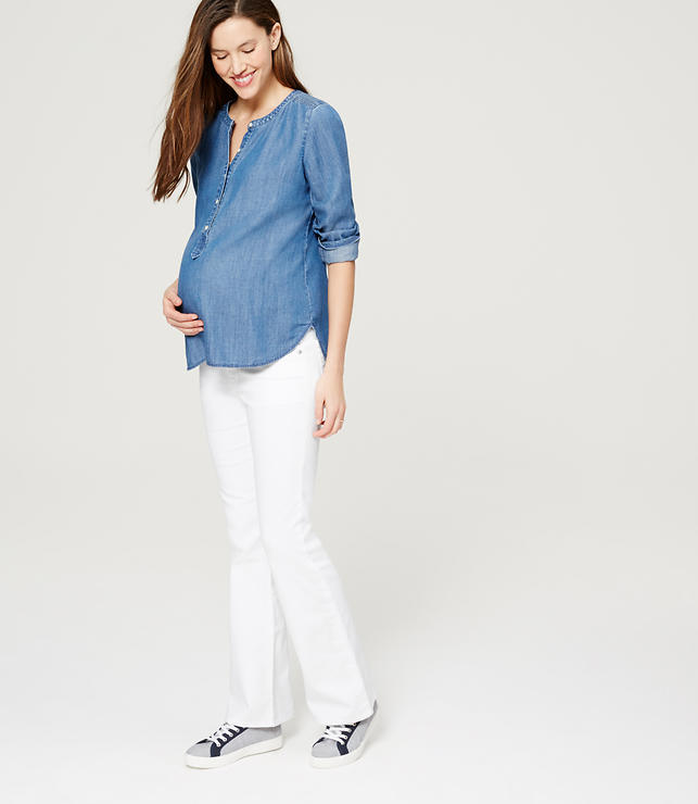 Petite Maternity Flare Jeans in White | LOFT