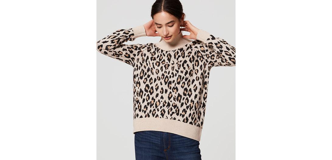 LOFT Leopard Turtleneck Sweater