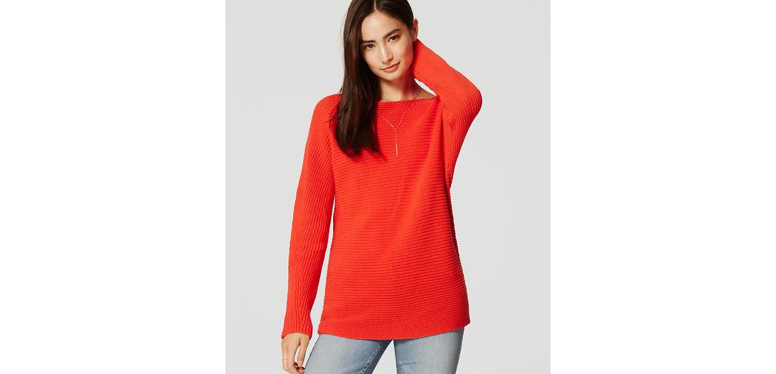 LOFT Petite Ribbed Dolman Sweater