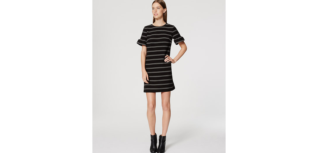 LOFT Striped Ruffle Cuff Shift Dress
