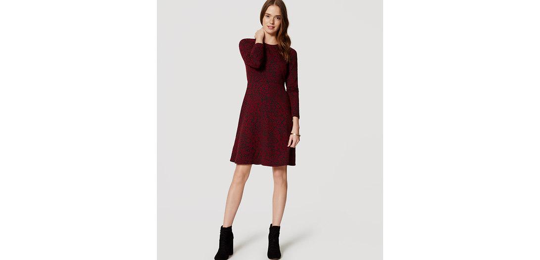 LOFT Petite Crimson Floral Jacquard Dress