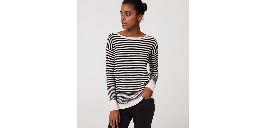 LOFT Stripe Textured Sweater Tunic