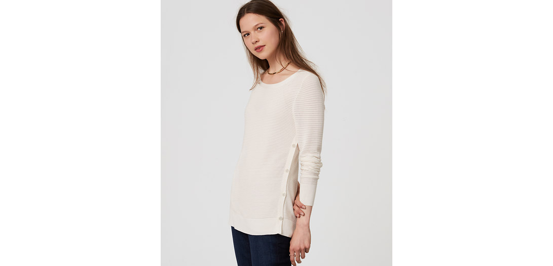 LOFT Striped Side Button Sweater