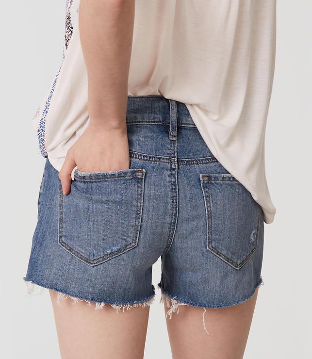 Cut Off Denim Shorts in Classic Light Indigo Wash | LOFT