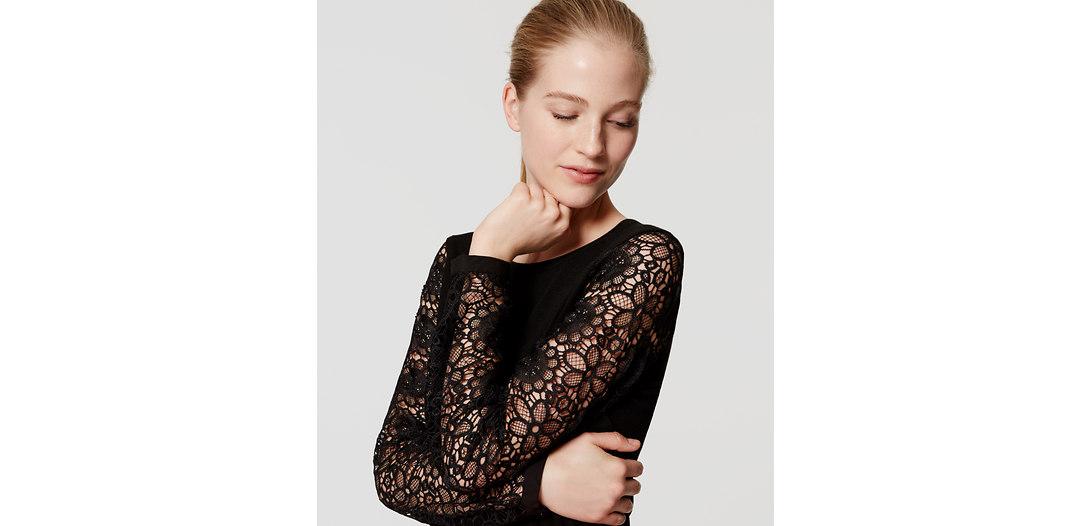 LOFT Lace Sleeve Sweater