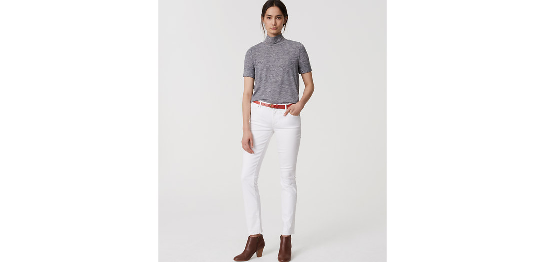 LOFT Tall Modern Frayed Slim Ankle Jeans in White
