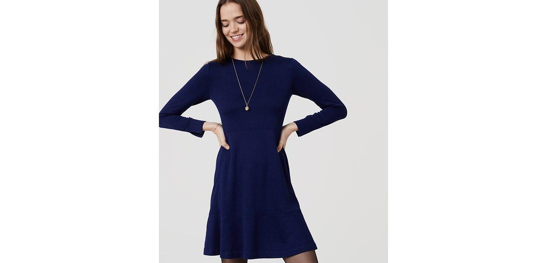 LOFT Petite Long Sleeve Flare Dress