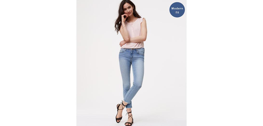 LOFT Modern Frayed Skinny Crop Jeans in Authentic Light Indigo Wash