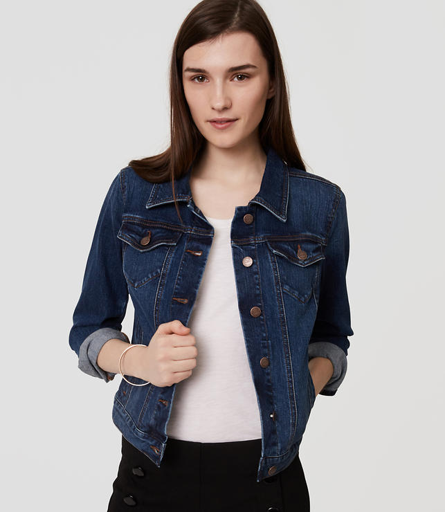 Petite Denim Jacket in Dark Classic Indigo Wash | LOFT