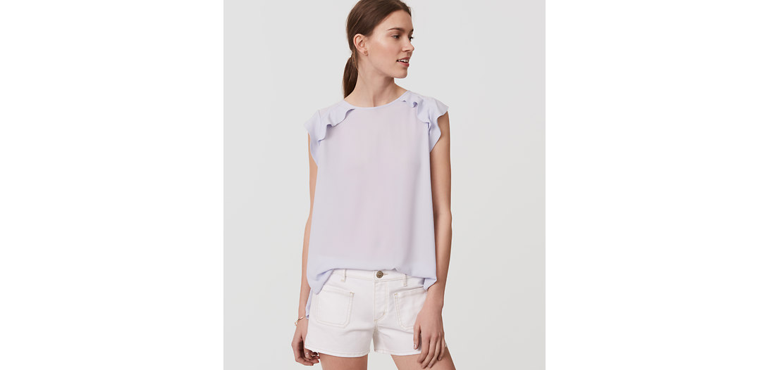 LOFT Patch Pocket Denim Shorts in White