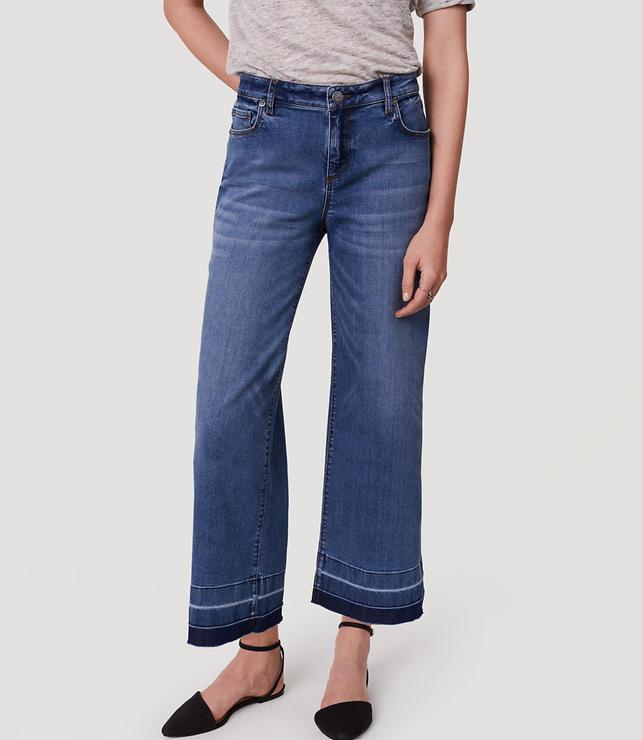 Modern Wide Leg Crop Jeans in Vintage Indigo Wash | LOFT