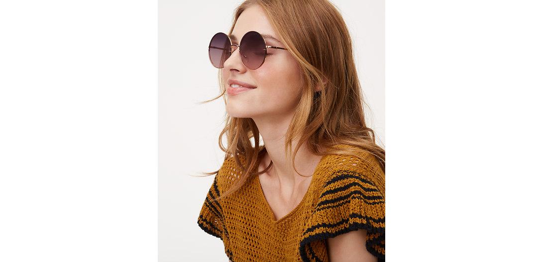 LOFT Rimless Round Sunglasses