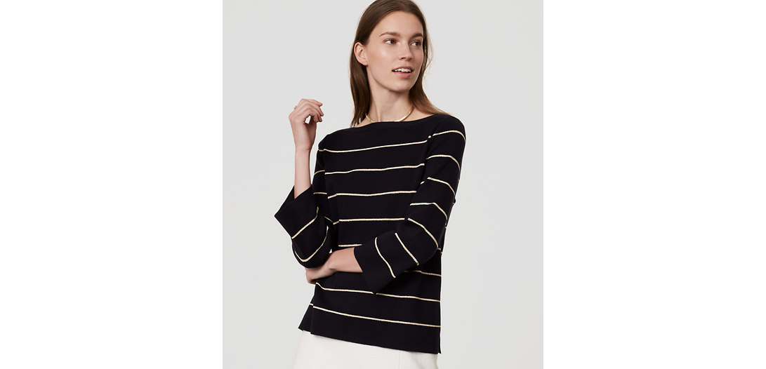 LOFT Shimmer Stripe Boatneck Sweater
