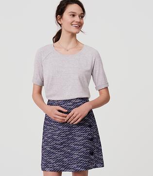 LOFT Petite Tweed Side Button Skirt