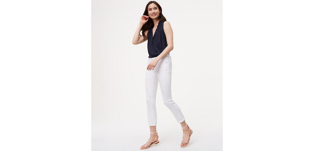 LOFT Petite Skinny Crop Jeans in White