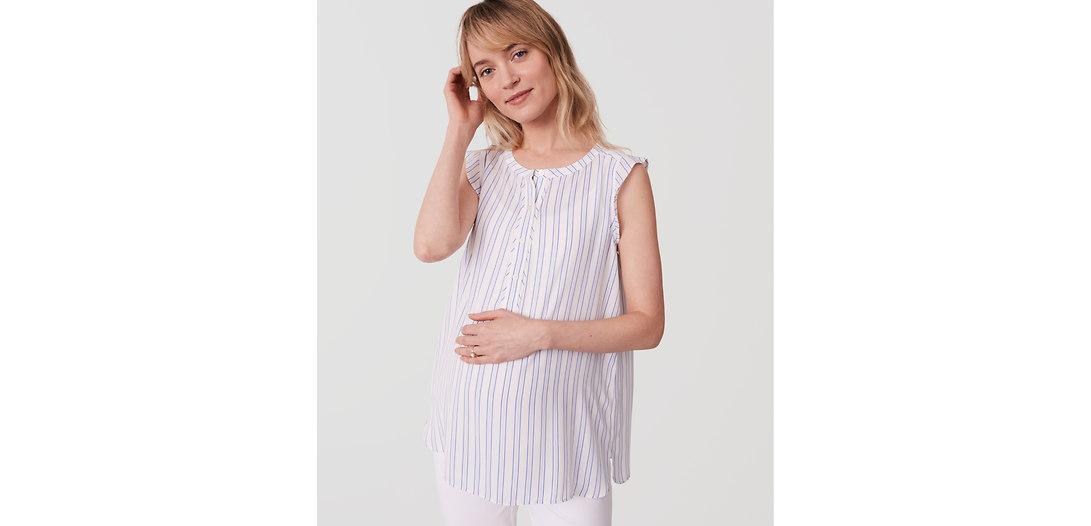 LOFT Maternity Striped Ruffle Henley Shell