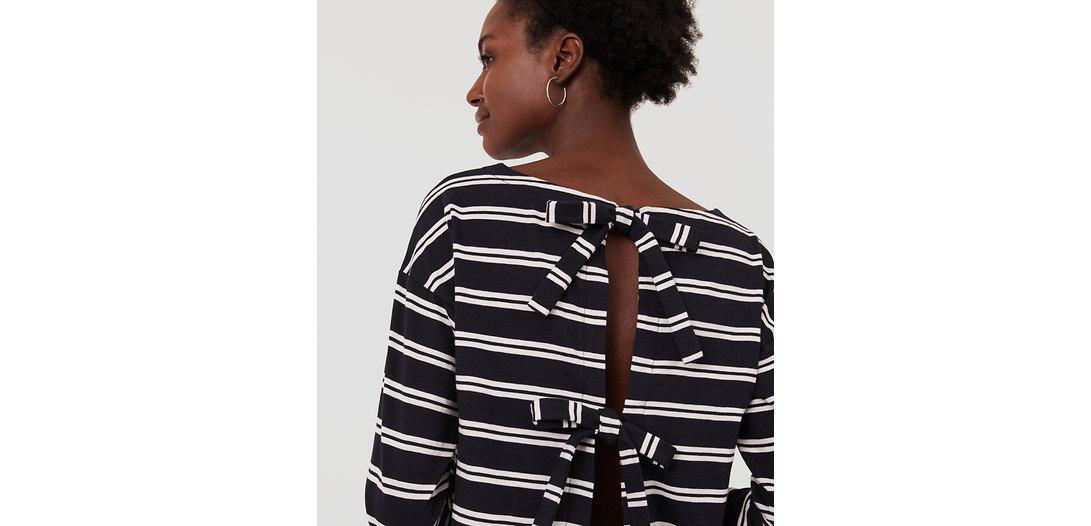 LOFT Beach Striped Tie Back Sweatshirt