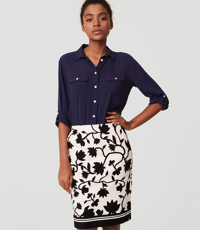 Petite Floral Print Pencil Skirt | LOFT