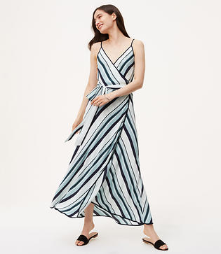 LOFT Striped Wrap Maxi Dress