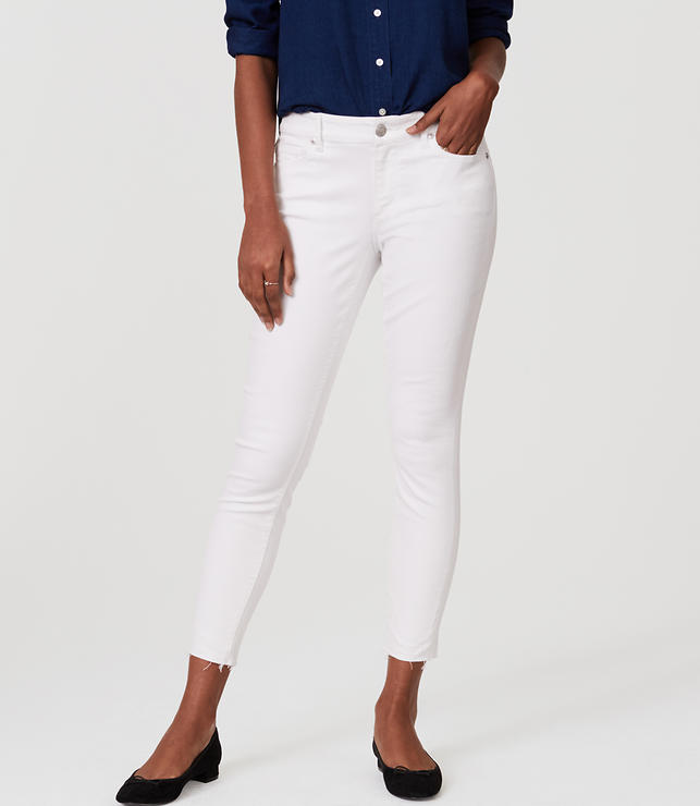 Curvy Frayed Skinny Ankle Jeans in White   LOFT