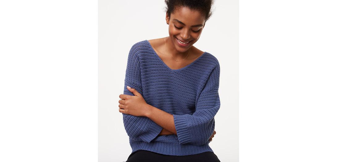 LOFT Crochet Stitch Sweater