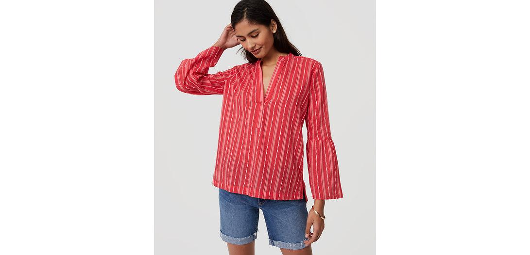 LOFT Striped Bell Sleeve Softened Shirt