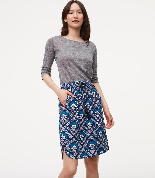 Fan Floral Drawstring Skirt