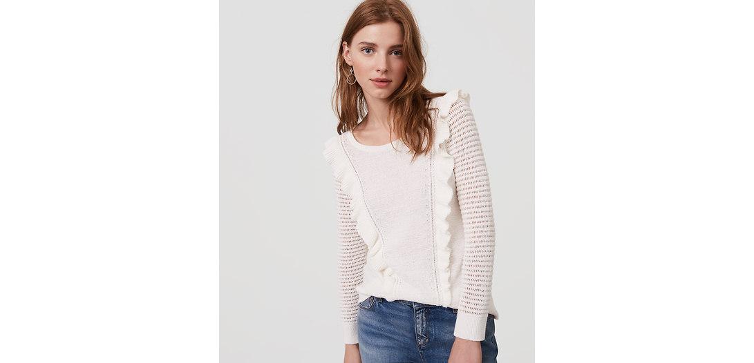 LOFT Petite Ruffle Sweater