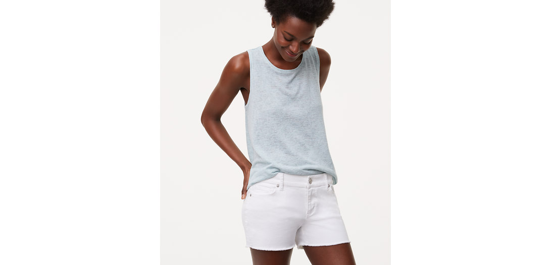 LOFT Cut Off Denim Shorts in White