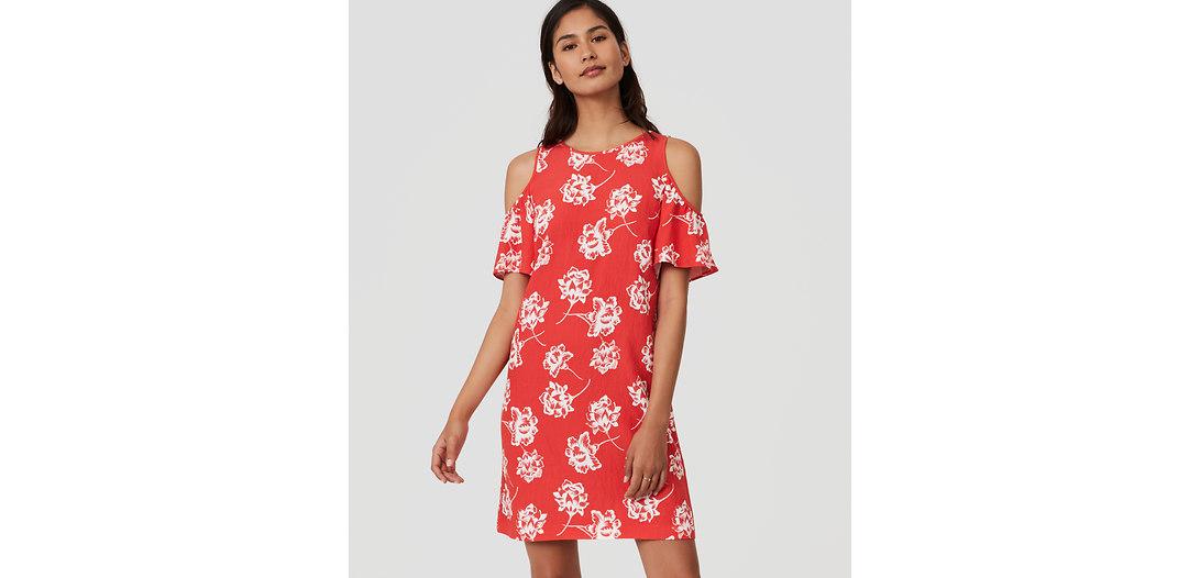 LOFT Petite Floral Cold Shoulder Dress