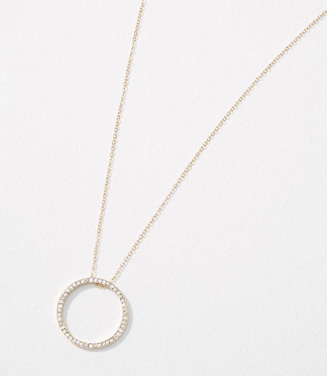 Pave Circle Pendant Necklace