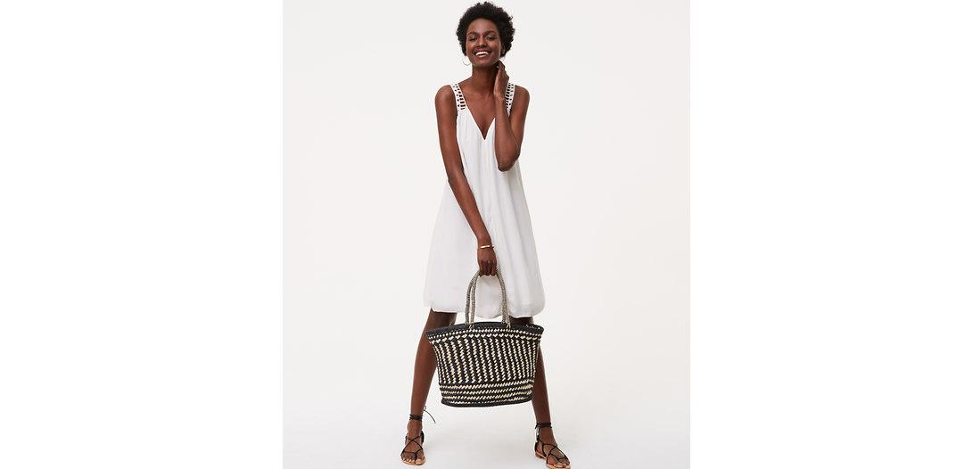 LOFT Monochrome Straw Bag