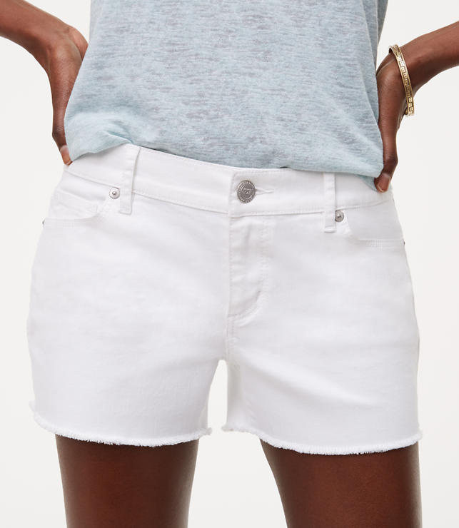 Petite Cut Off Denim Shorts in White | LOFT