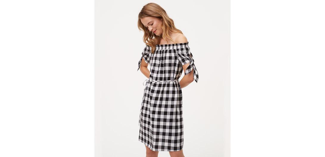 LOFT Gingham Tie Off The Shoulder Dress