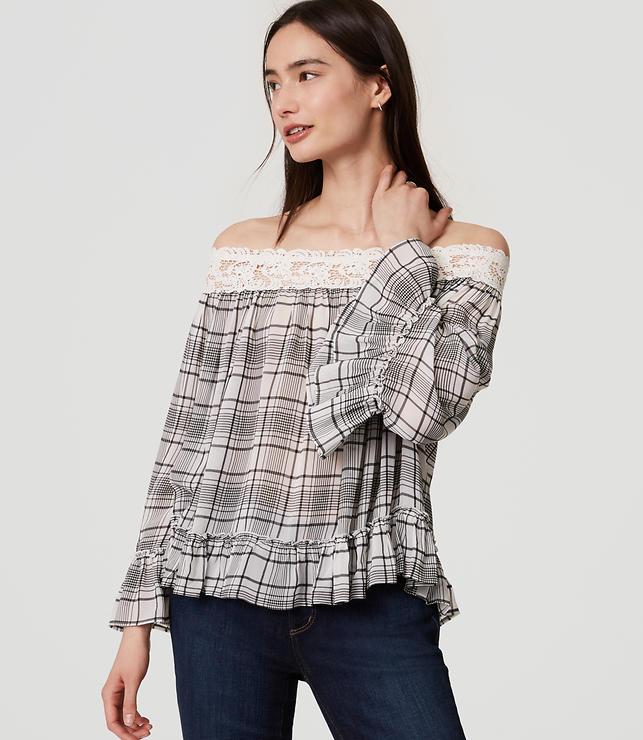 Plaid Lacy Off The Shoulder Blouse
