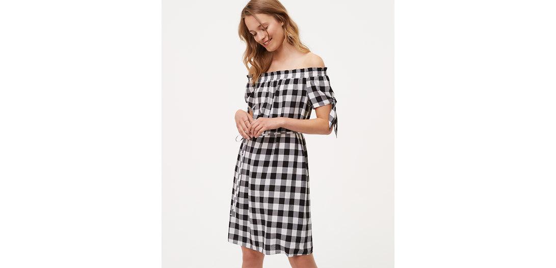 LOFT Tall Gingham Tie Off The Shoulder Dress