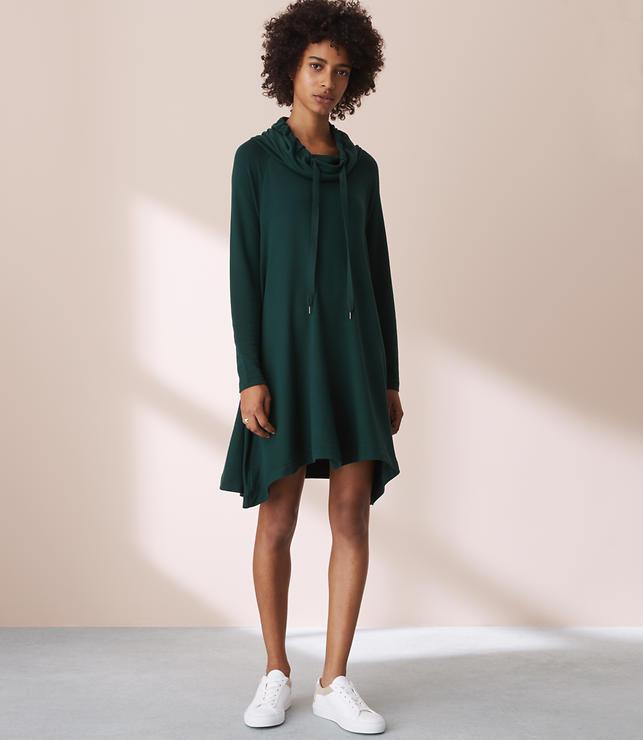 Lou & Grey Signaturesoft Drawstring Cowl Dress