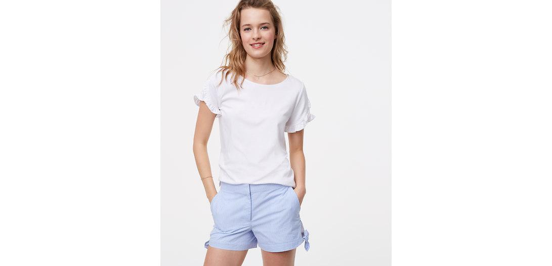 LOFT Petite Striped Side Tie Shorts