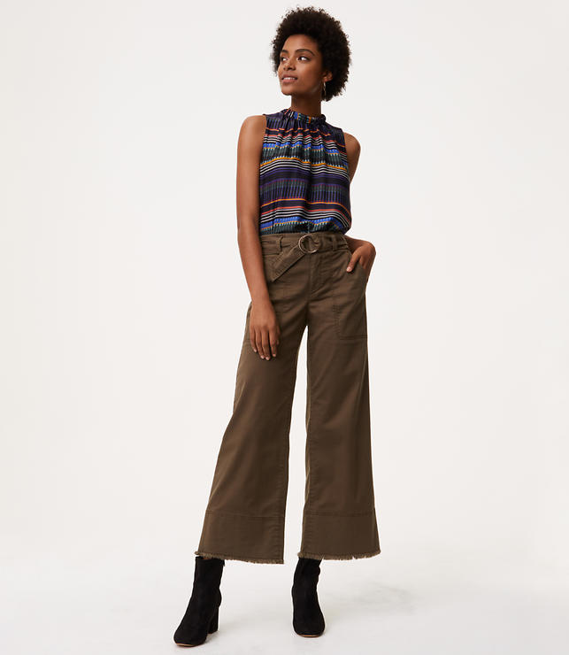 Wide Leg Crop Belted Pants