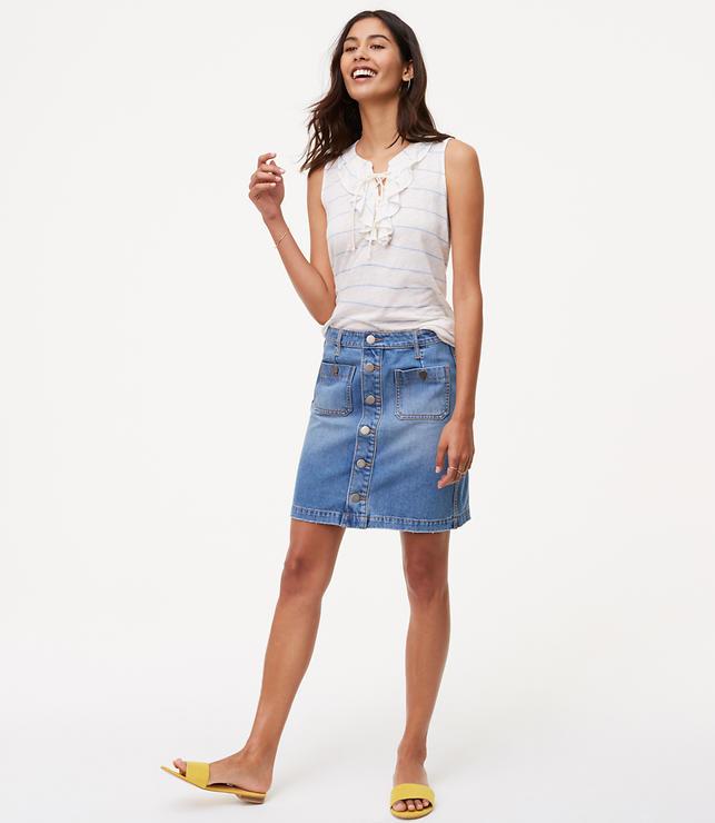 Button Down Denim Skirt | LOFT