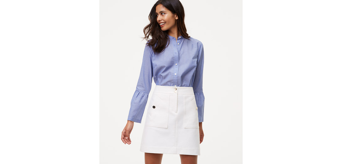 LOFT Bi-Stretch Buttoned Shift Skirt