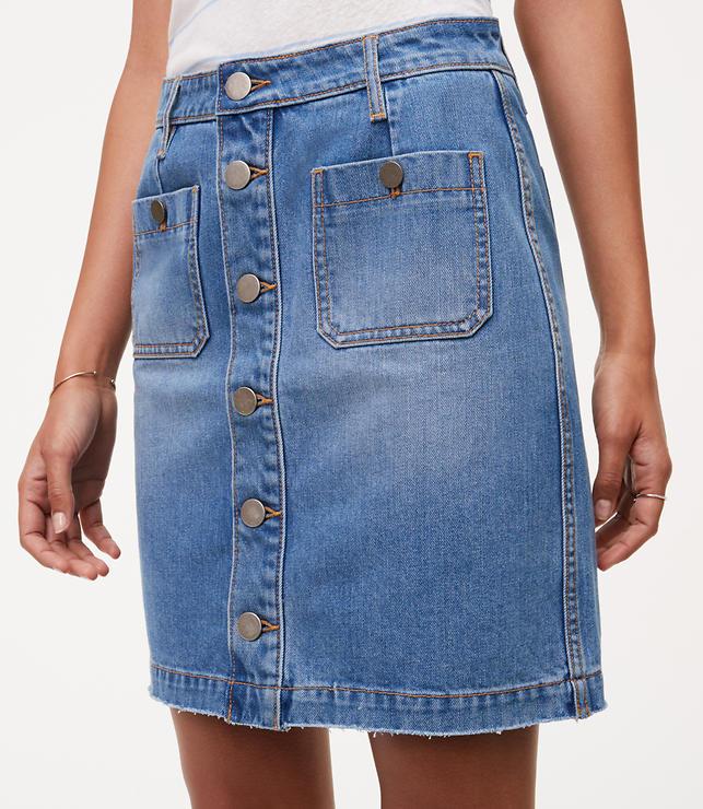 Petite Button Down Denim Skirt | LOFT