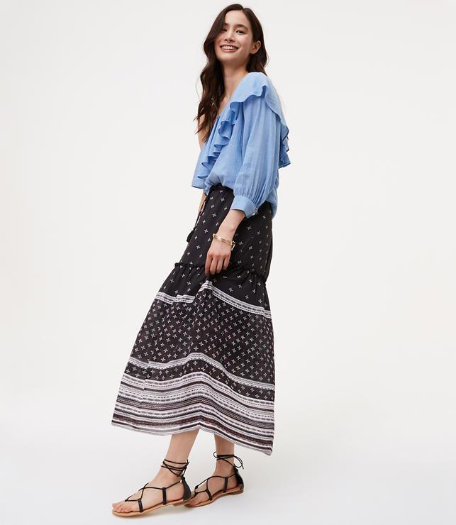 Striped Mosaic Drawstring Skirt