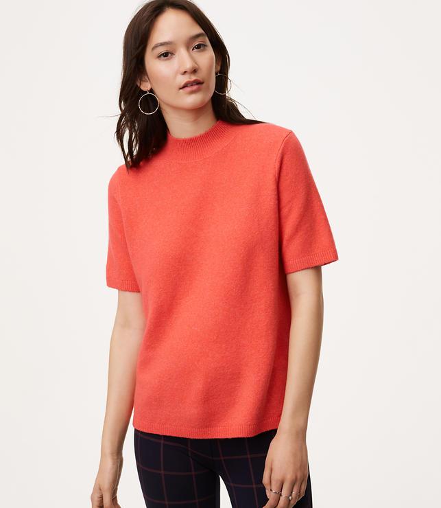 Mockneck Short Sleeve Sweater
