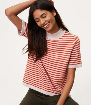 60s Shirts, Tops, Blouses | 70s Shirts, Blouses LOFT Striped Mockneck Short Sleeve Sweater $49.50 AT vintagedancer.com